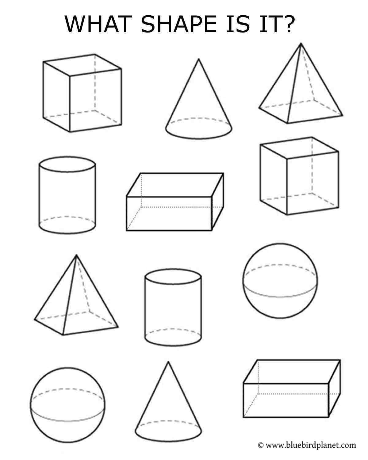 Kindergarten 3d Shapes Worksheets Free Printables for Kids