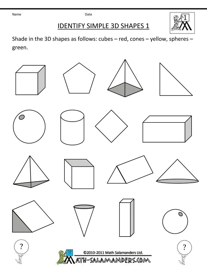 Kindergarten 3d Shapes Worksheets Worksheets 3d Shapes for Kindergarten – Mreichert Kids