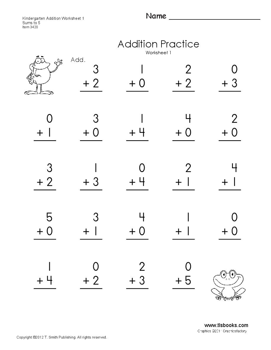 Kindergarten Addition Worksheets Free Math Worksheet Simple Addition Worksheets to Learning