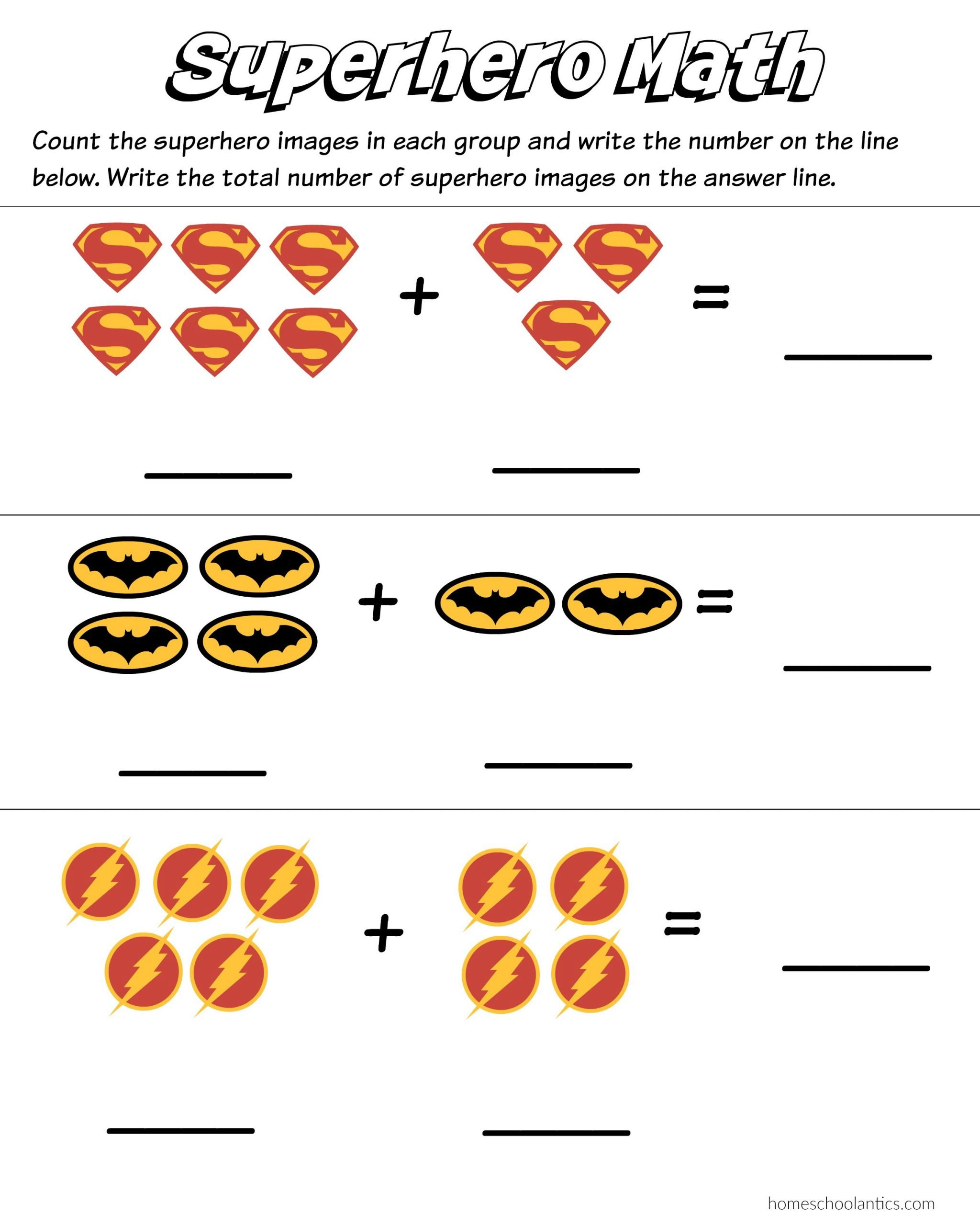 Kindergarten Addition Worksheets Free Superhero Math Kindergarten Addition Worksheet Printables