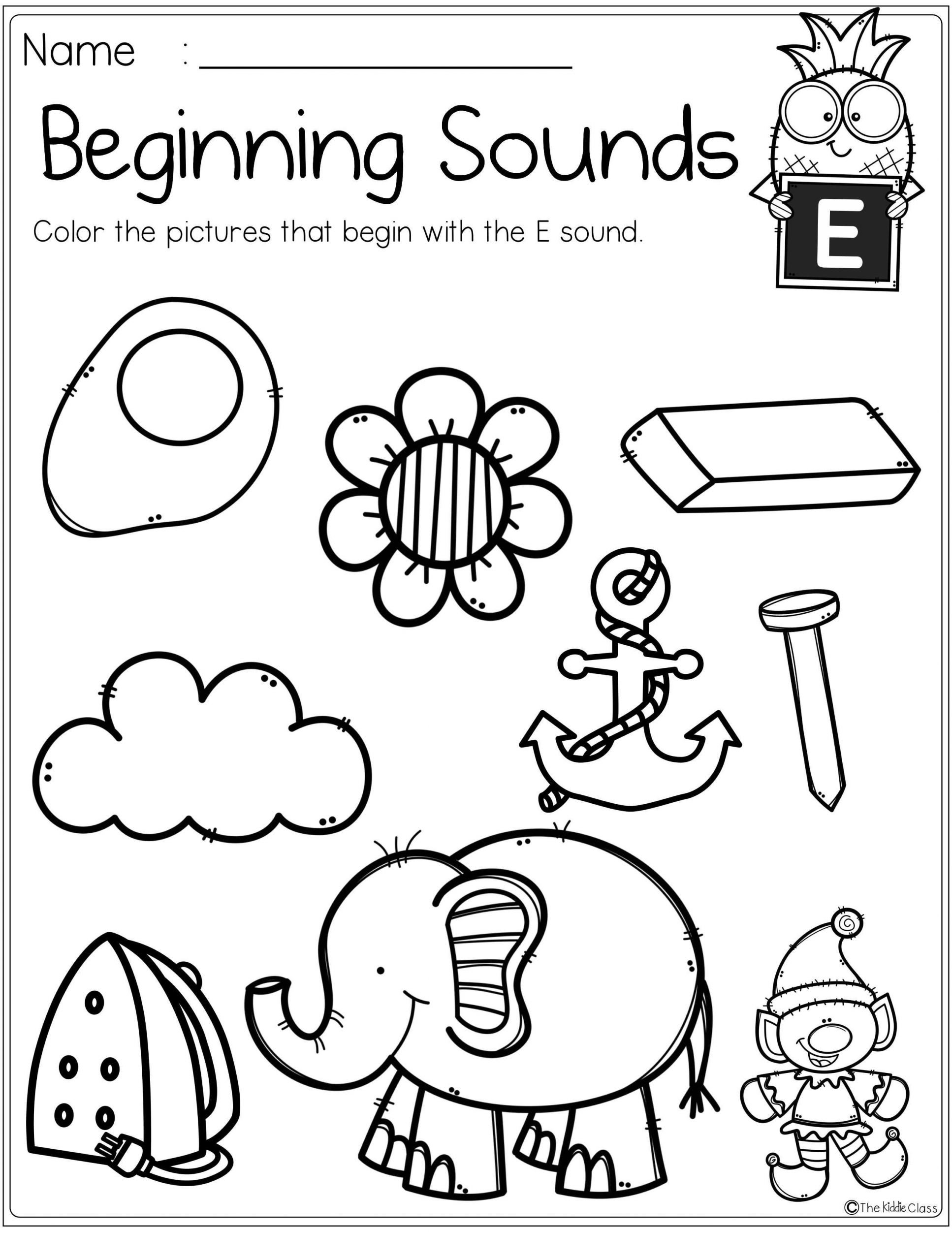 Kindergarten Beginning sounds Worksheets Alphabet Beginning sounds Printables