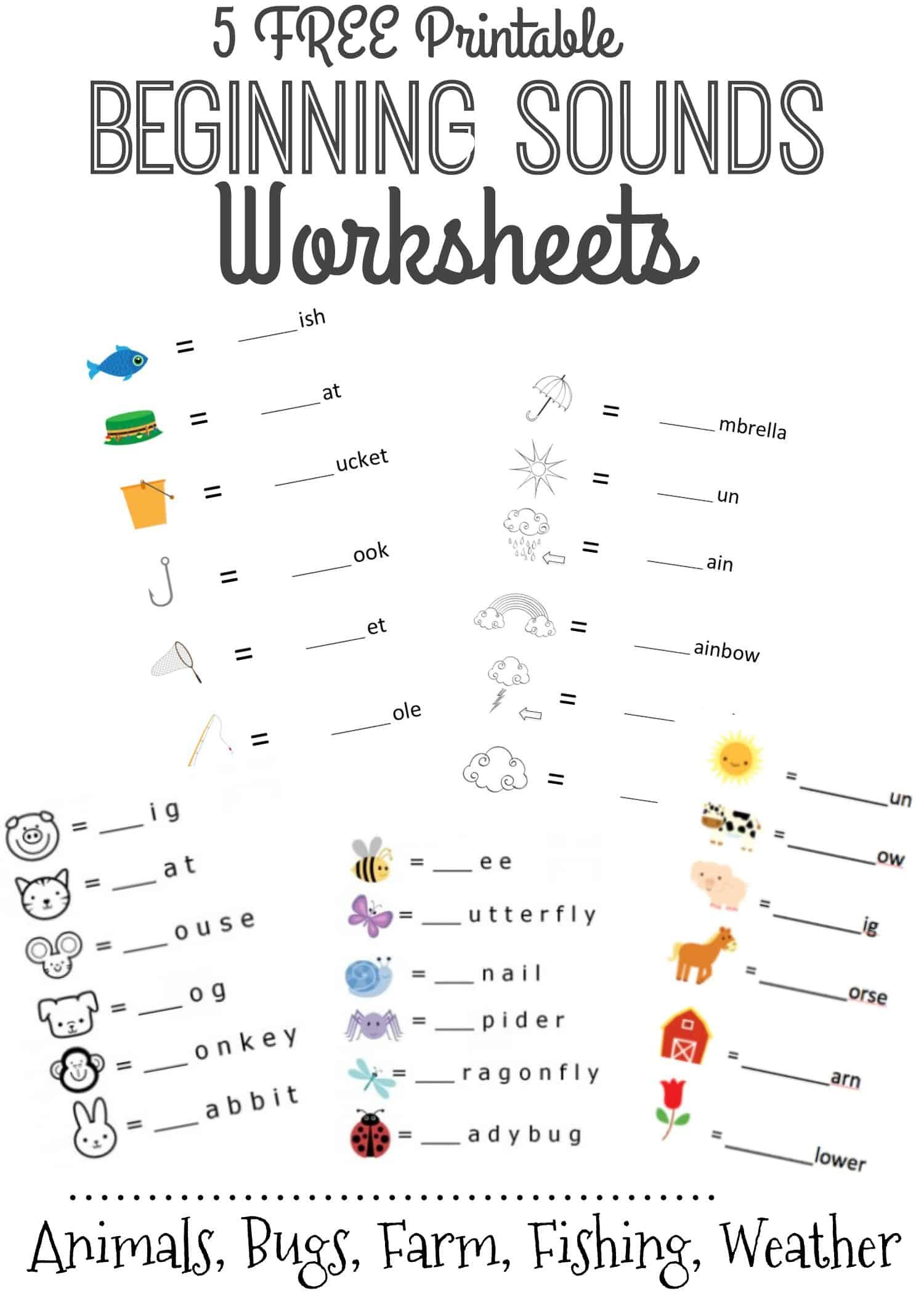 Kindergarten Beginning sounds Worksheets Beginning sounds Letter Worksheets for Early Learners