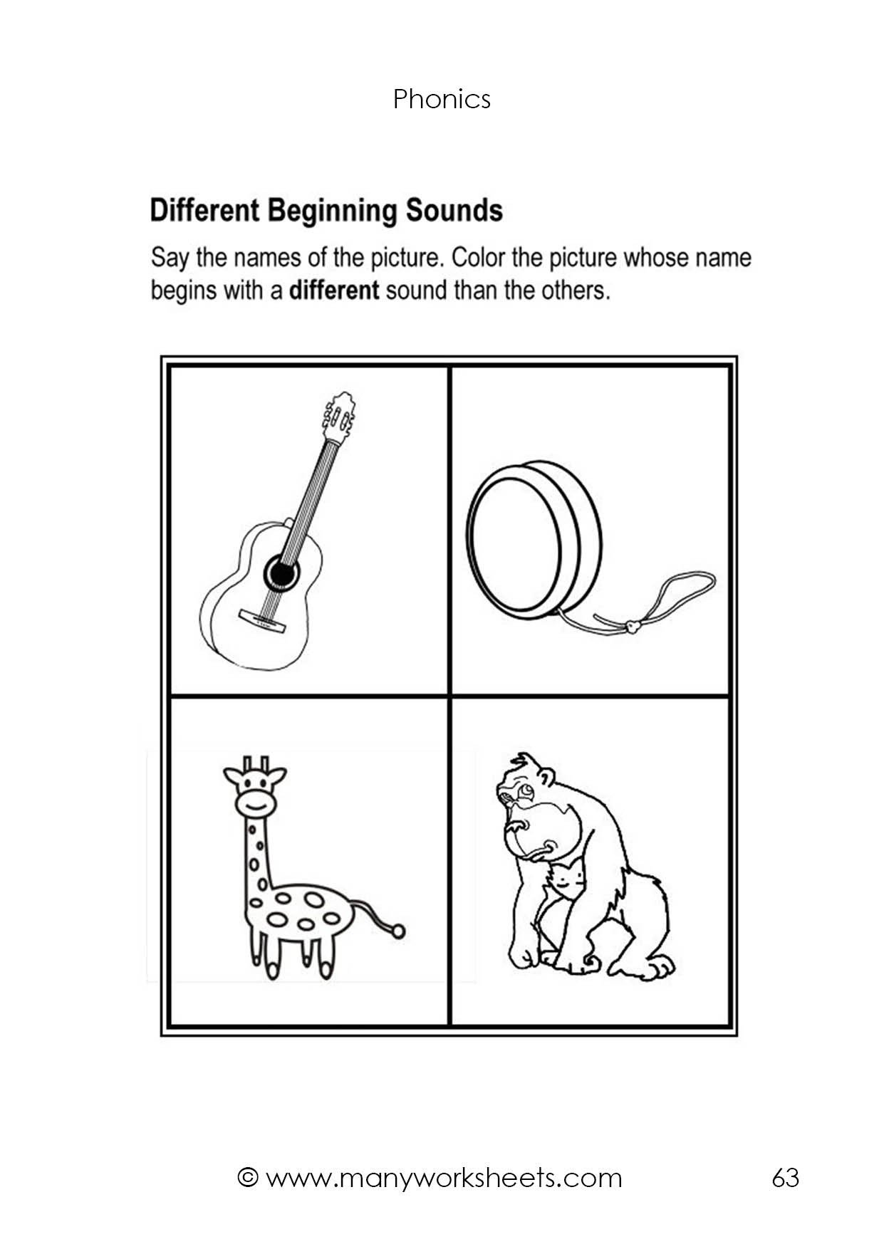 Kindergarten Beginning sounds Worksheets Different Beginning sounds Worksheet 8