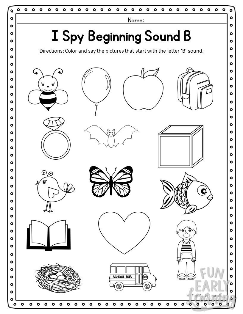 Kindergarten Beginning sounds Worksheets I Spy Beginning sounds Activity Free Printable for Speech