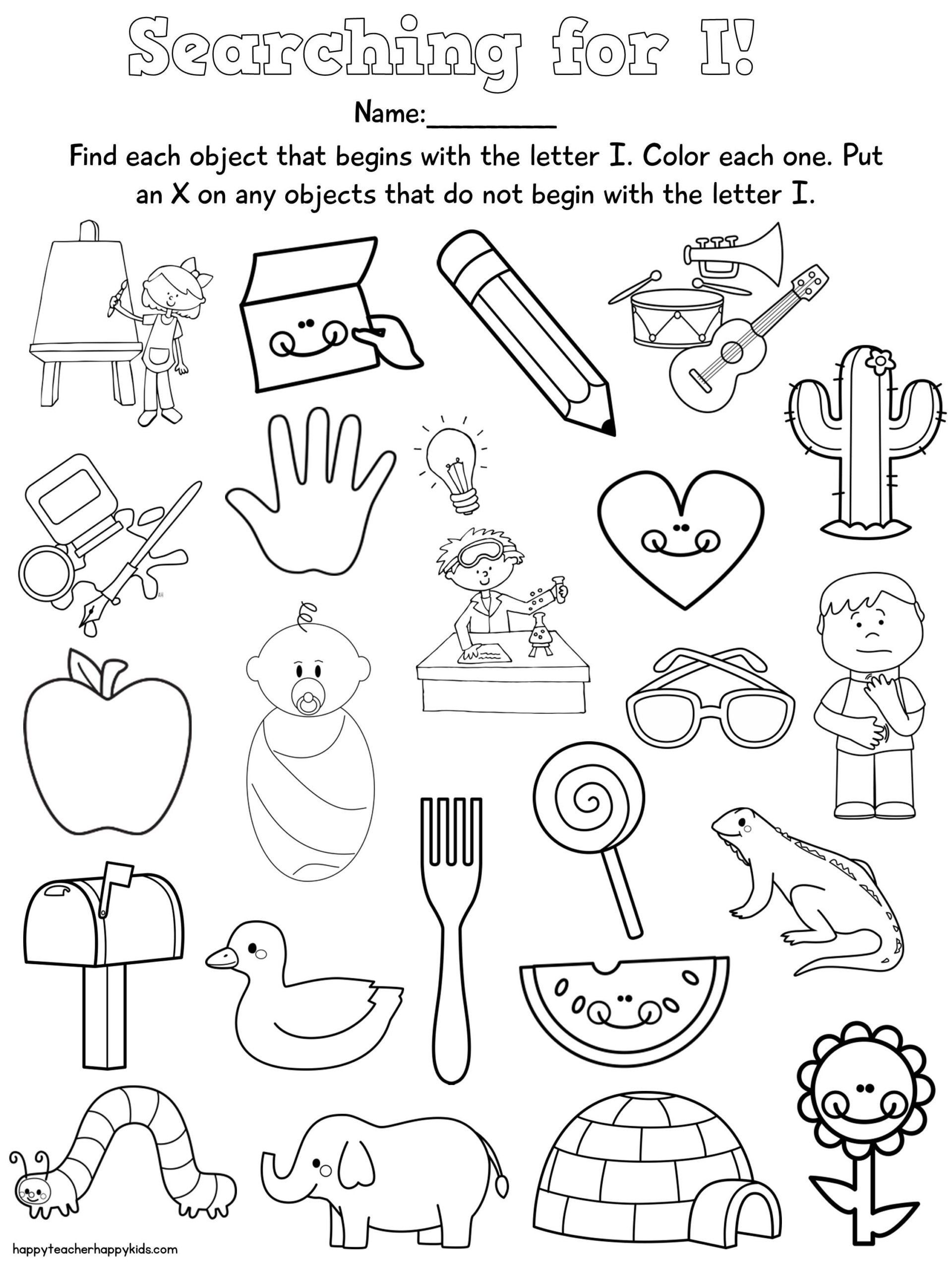 Kindergarten Beginning sounds Worksheets Letter Free Nursery Rhymes Preschool Kindergarten Beginning