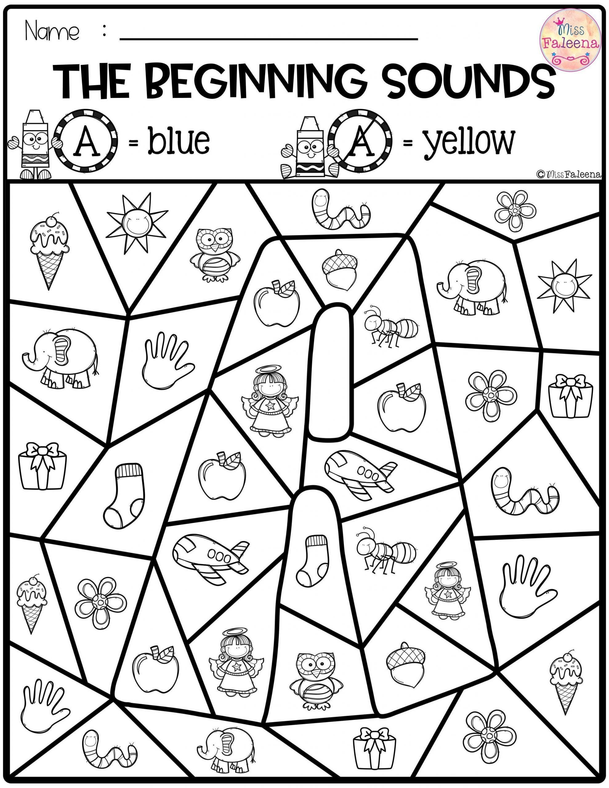 Kindergarten Beginning sounds Worksheets Worksheet Free Preschool Kindergarten Worksheets Beginning