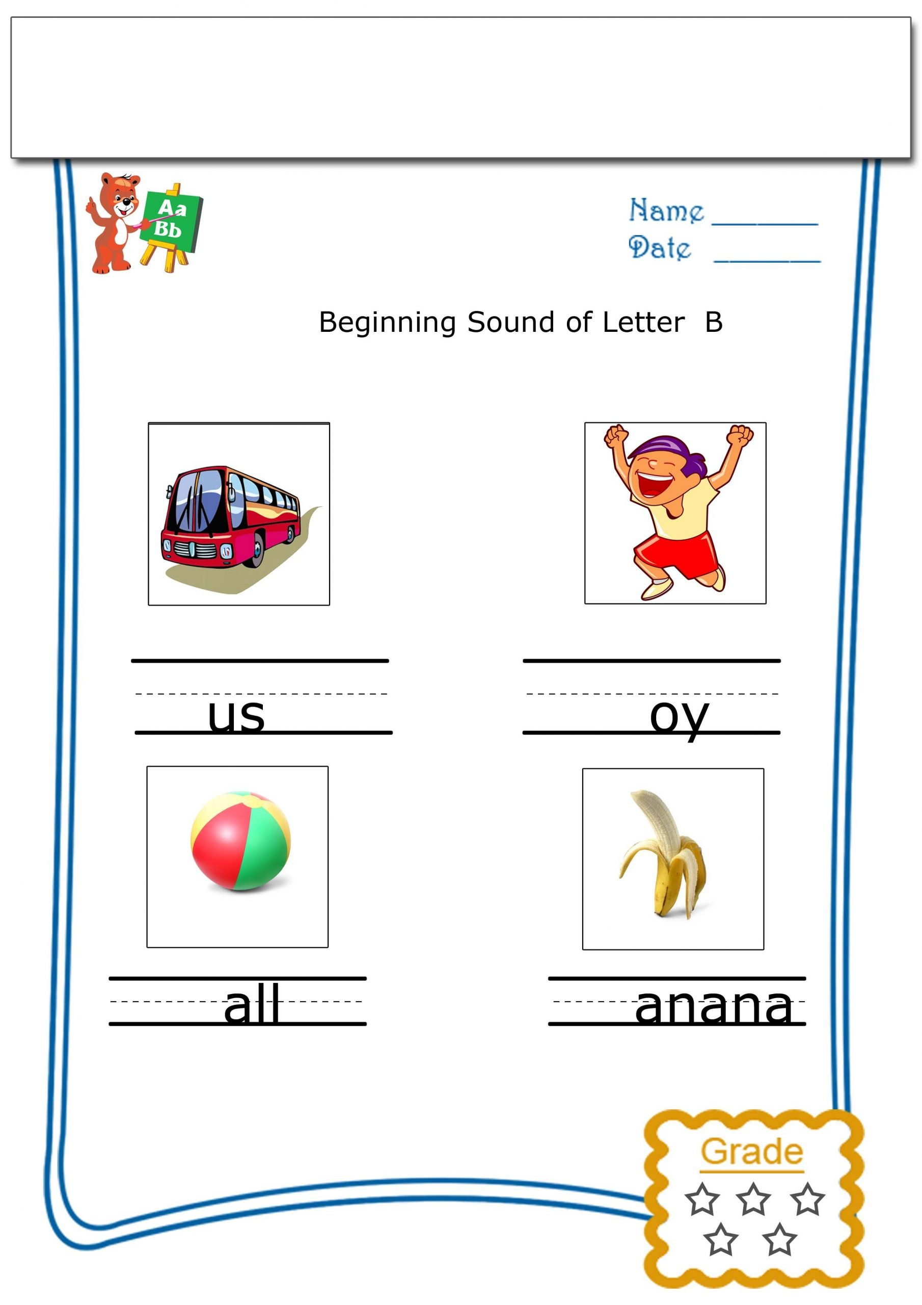 Kindergarten Beginning sounds Worksheets Worksheets for Kindergarten Beginning sound Of B