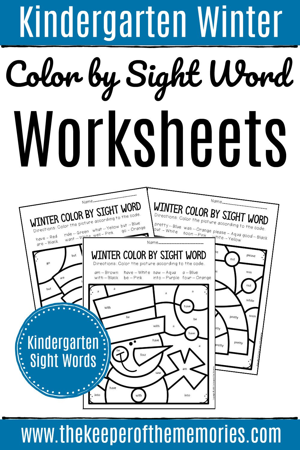 Kindergarten Color Words Worksheets Color by Sight Word Winter Kindergarten Worksheets the