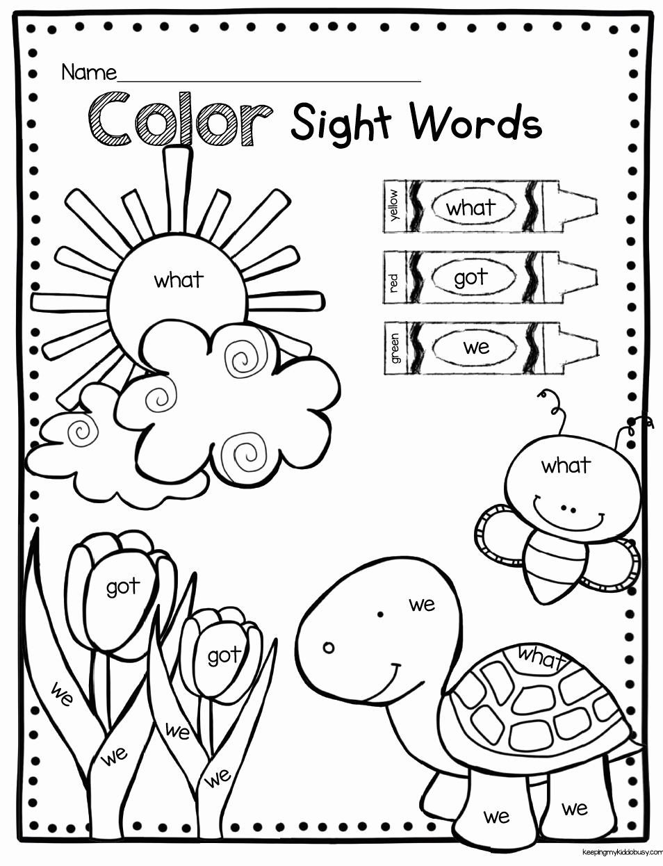 Kindergarten Color Words Worksheets Color Words Coloring Sheet In 2020