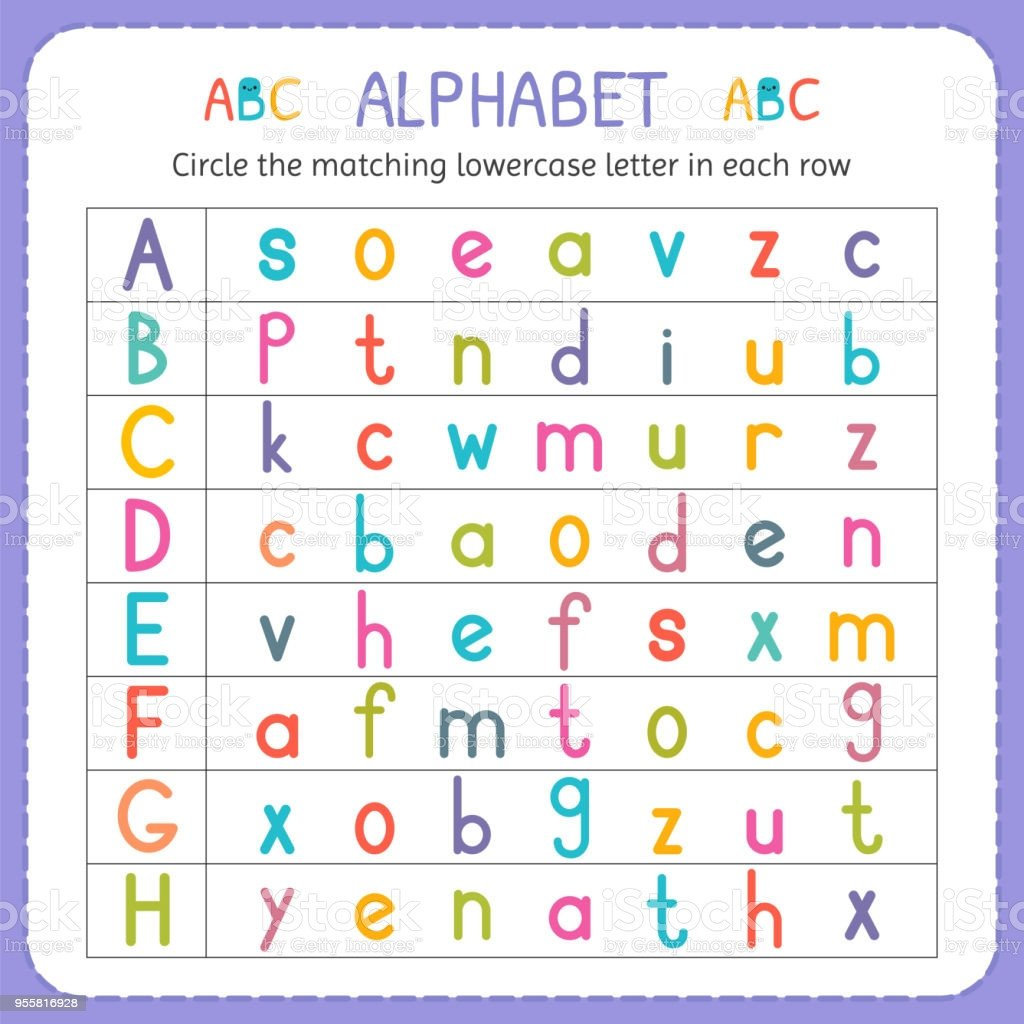 Kindergarten Lowercase Letters Worksheets Circle the Matching Lowercase Letter In Each Row From A to H Worksheet for Kindergarten and Preschool Exercises for Children Stock Illustration