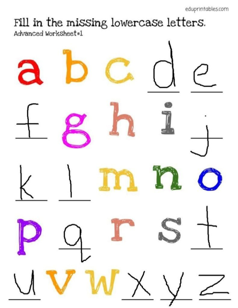 Kindergarten Lowercase Letters Worksheets Fill In the Missing Lowercase Letters Advanced Version