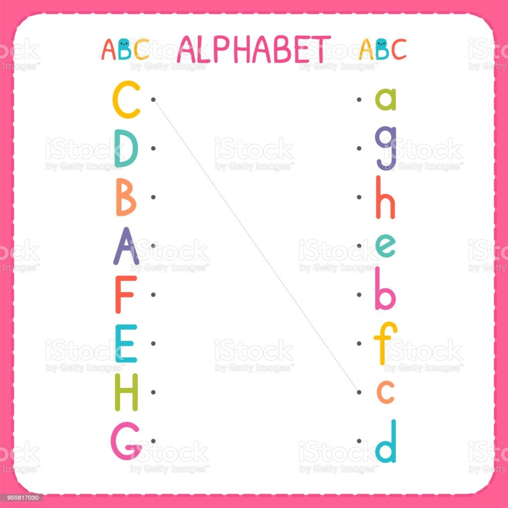 Kindergarten Lowercase Letters Worksheets Join Each Capital Letter with the Lowercase Letter From A to H Worksheet for Kindergarten and Preschool Exercises for Children Stock Illustration