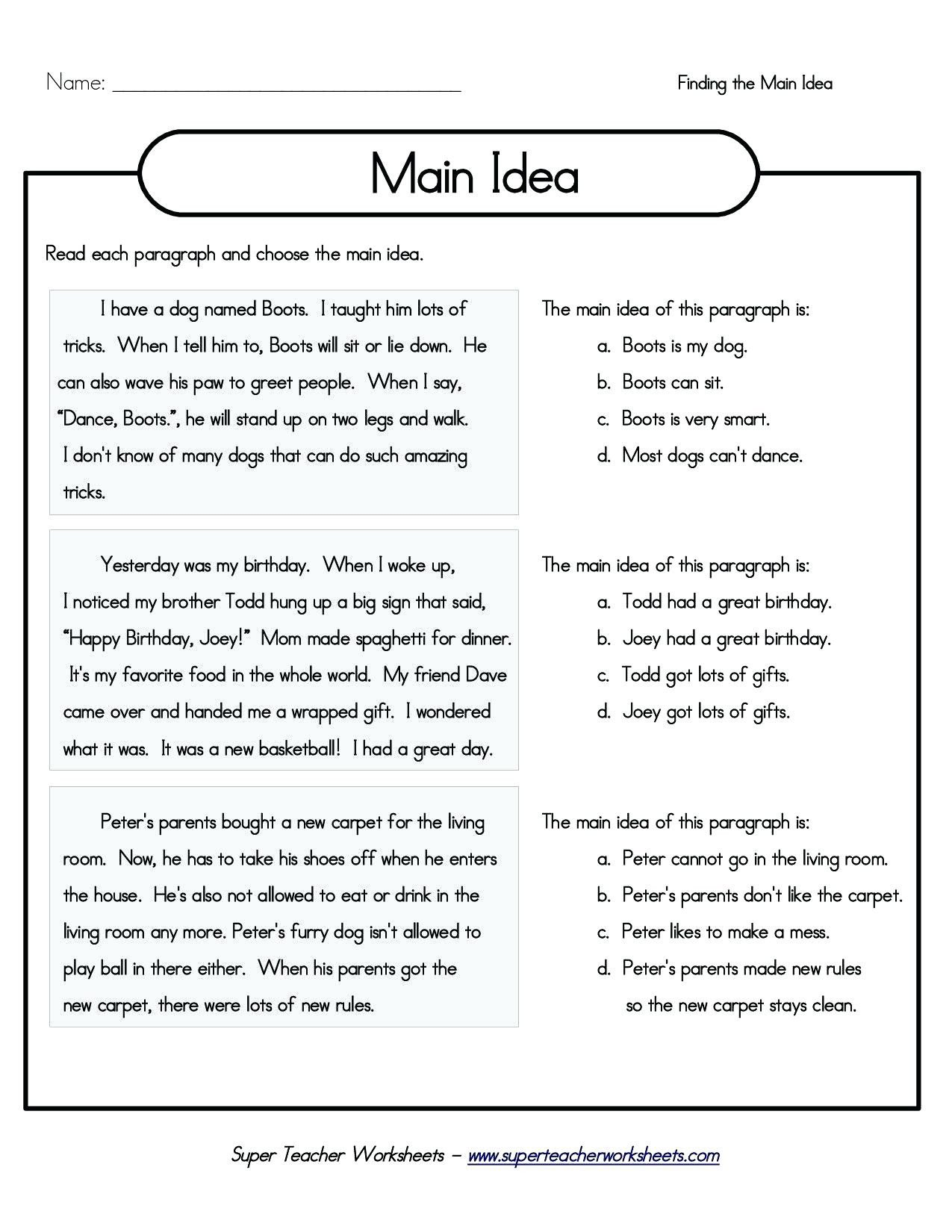Kindergarten Main Idea Worksheets 5th Grade Main Idea Worksheets Printable Grade Main Idea