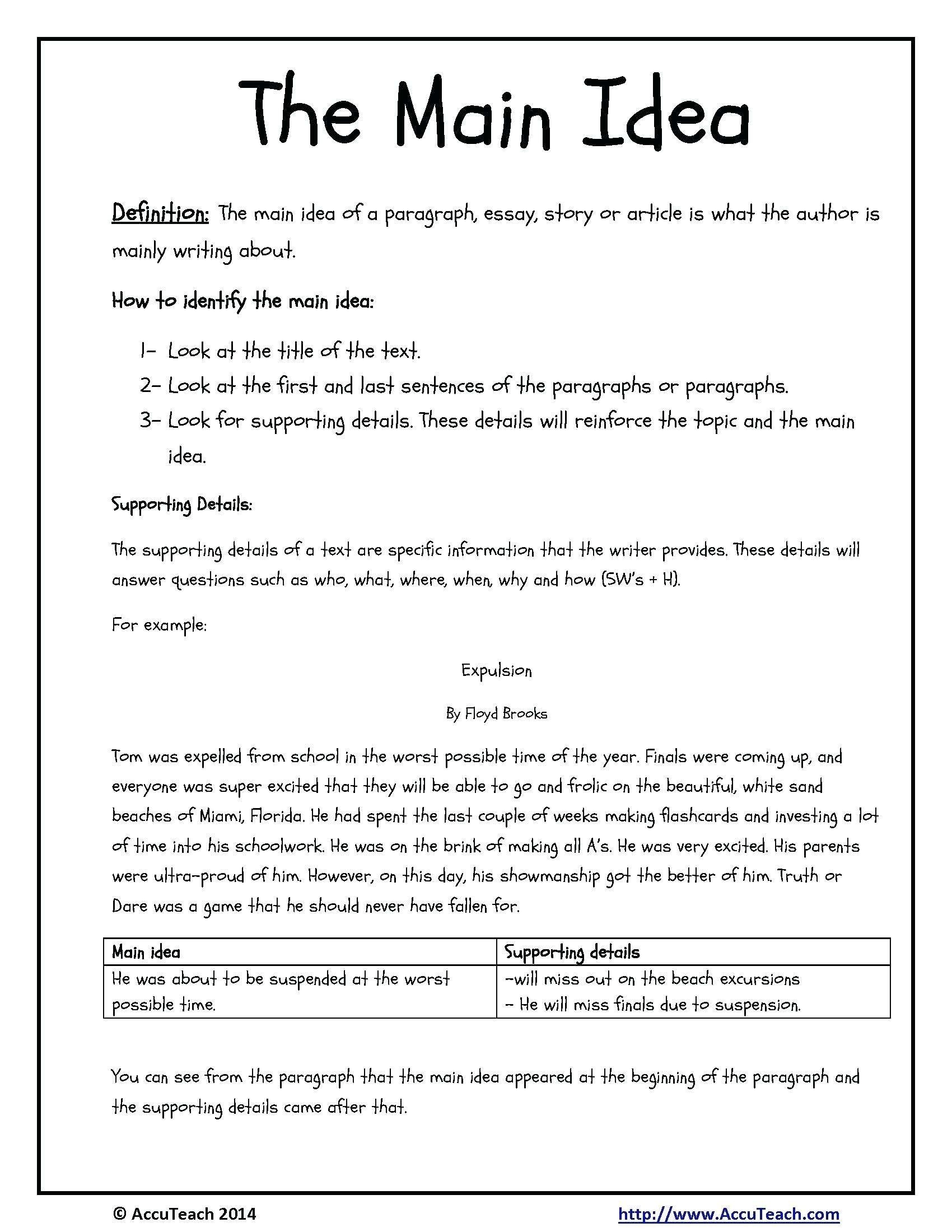 Kindergarten Main Idea Worksheets Identifying Main Idea Worksheets Kindergarten
