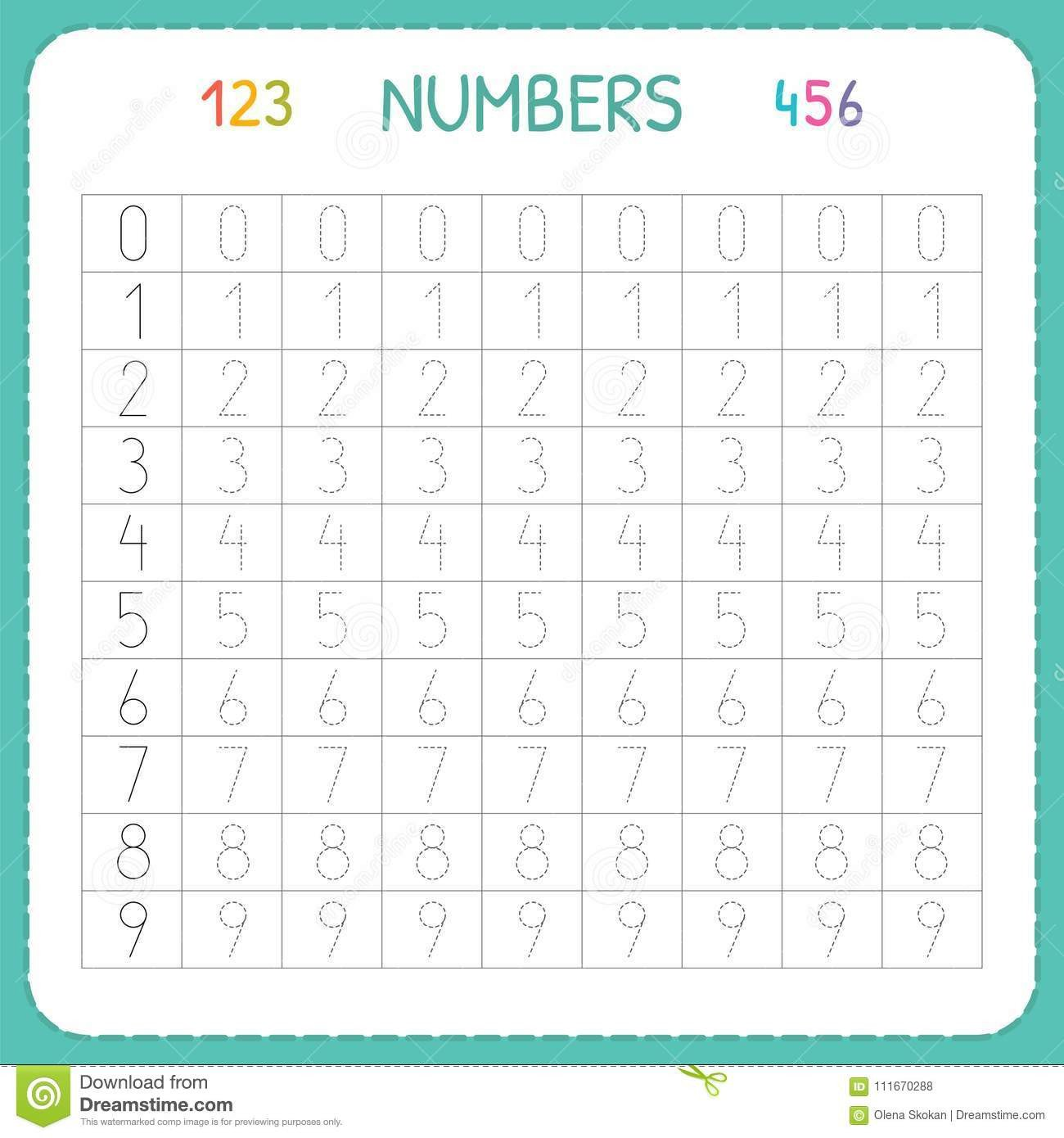 Kindergarten Number Line Worksheets Numbers for Kids Worksheet for Kindergarten and Preschool