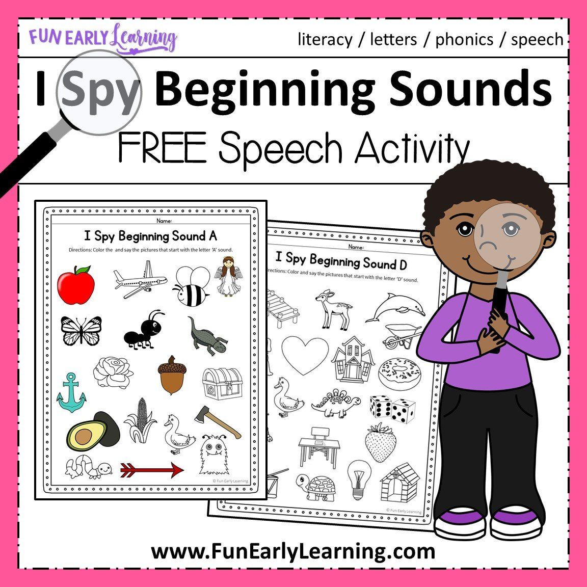 Kindergarten Phonics Worksheets Beginning sounds I Spy Beginning sounds Activity Free Printable for Speech