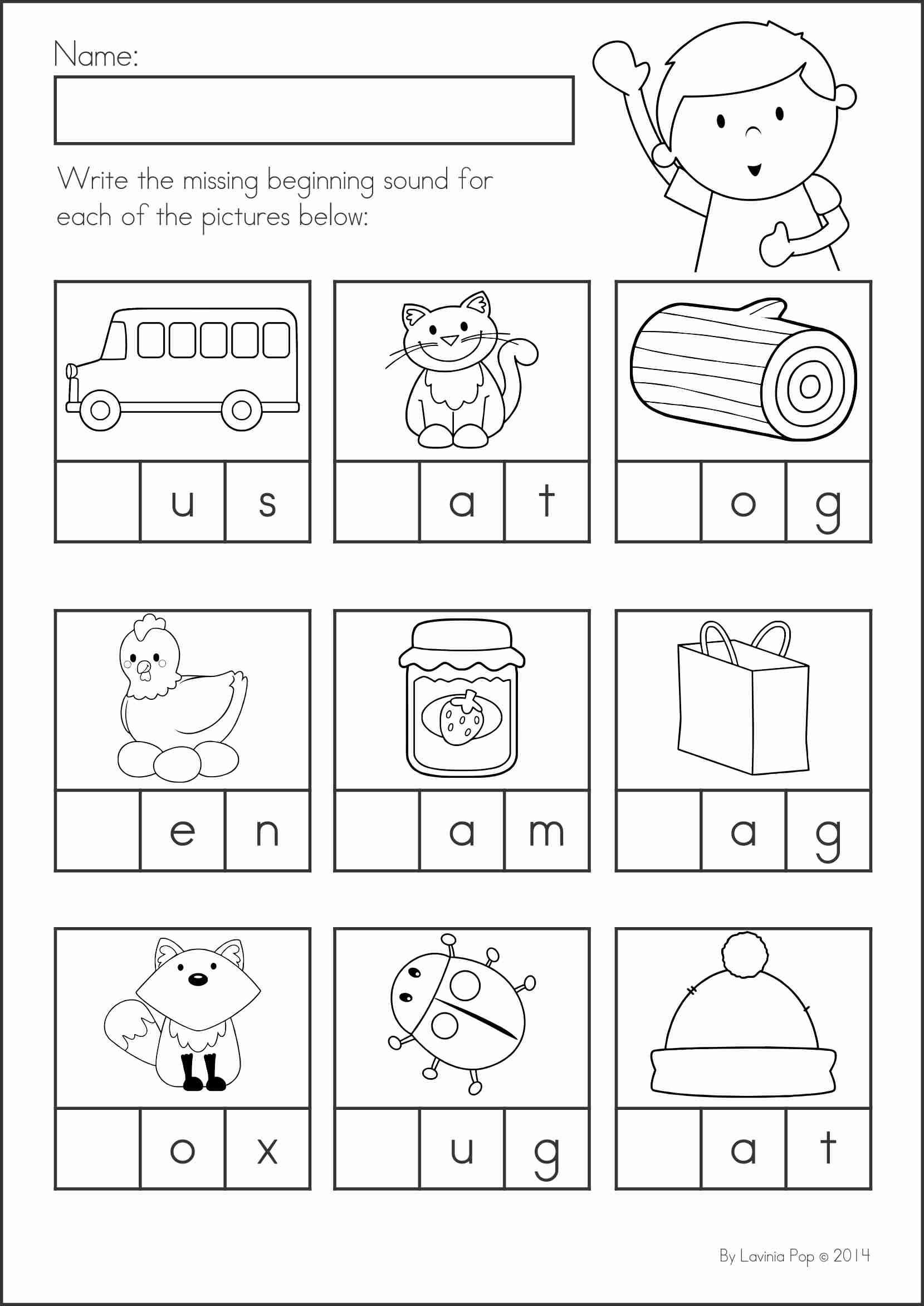 Kindergarten Phonics Worksheets Beginning sounds Kindergarten Back to School Math & Literacy Worksheets and