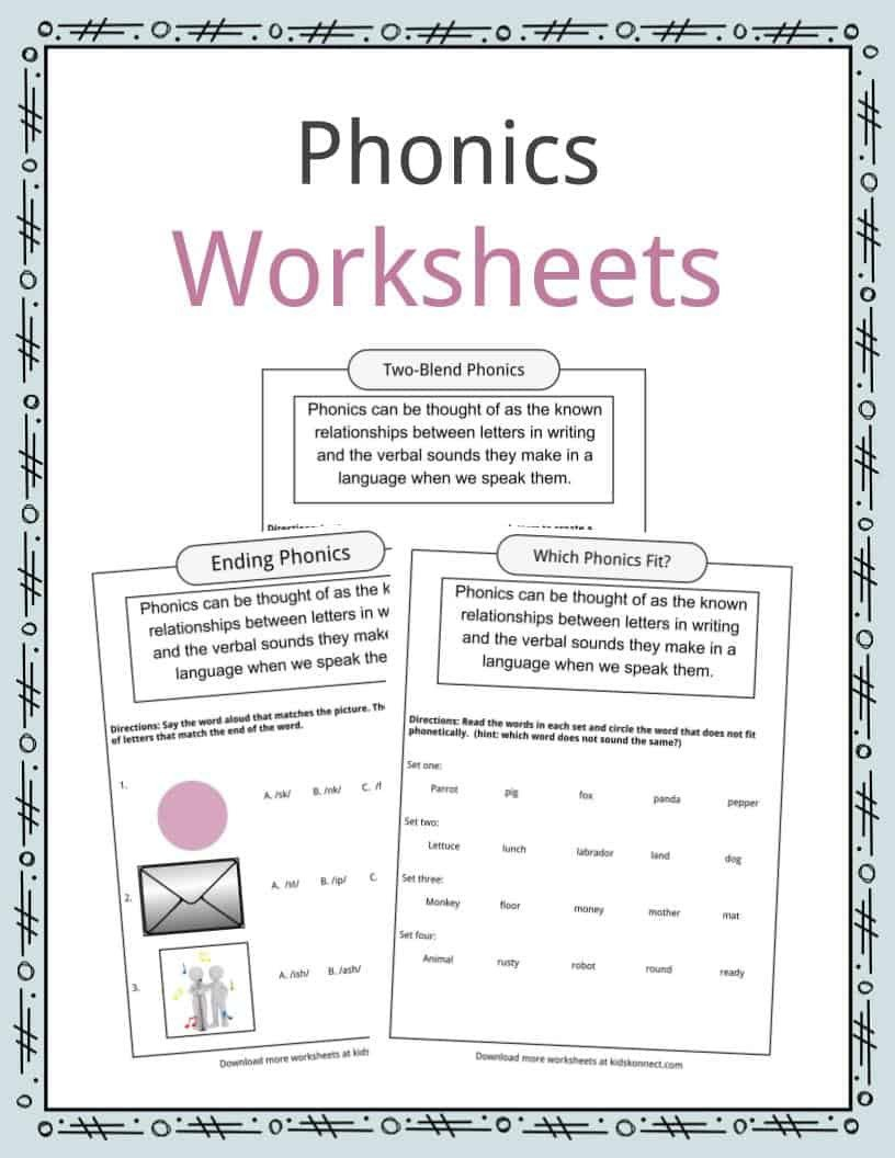 Kindergarten Phonics Worksheets Beginning sounds Phonics Table Worksheets & Examples & Definition for Kids