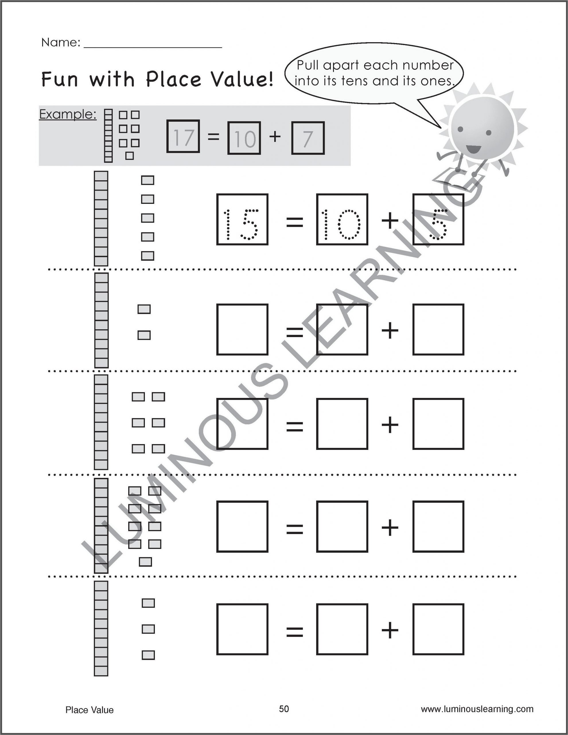 Kindergarten Place Value Worksheet Kindergarten and Grade 1 Number Sense and Place Value Workbook