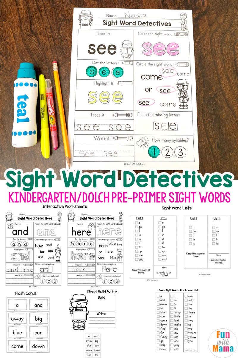 Kindergarten Reading Worksheets Sight Words Pre K Sight Words Worksheets Fun with Mama