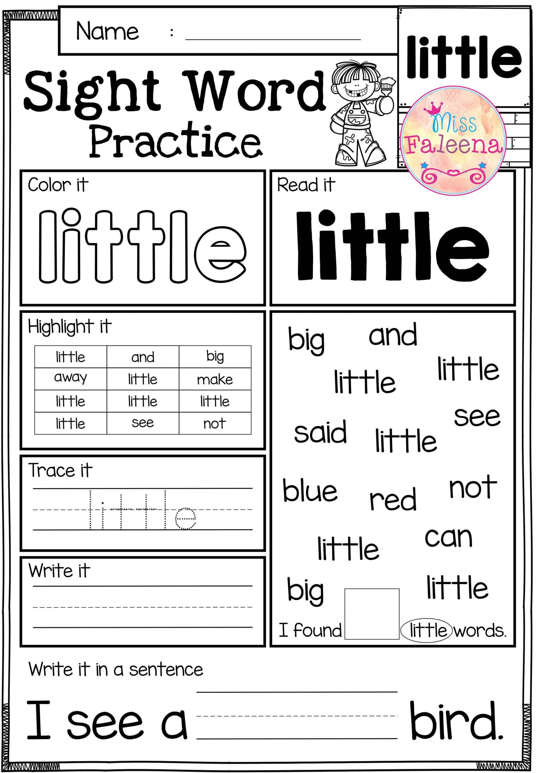 Kindergarten Reading Worksheets Sight Words these Sight Word Practice Pages are Great for Kindergarten