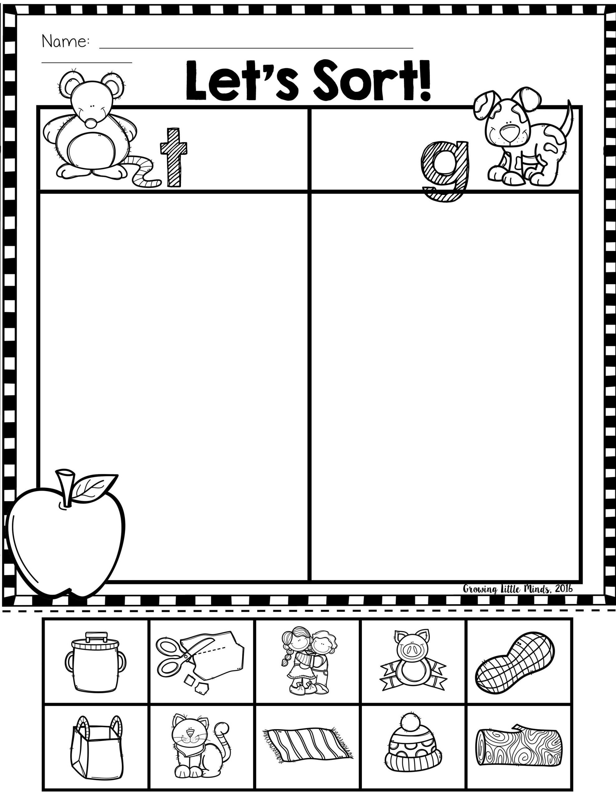 Kindergarten sorting Worksheets Ending sound sorts
