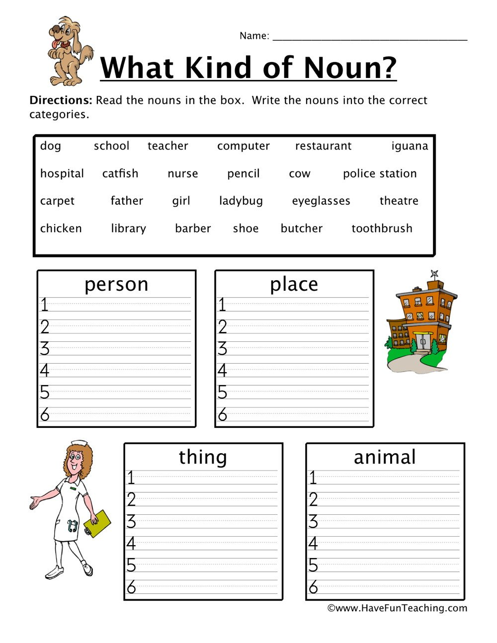 Kindergarten sorting Worksheets Noun sorting Worksheet