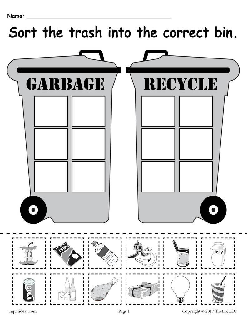 Kindergarten sorting Worksheets sorting Trash Earth Day Recycling Worksheets 4 Printable Versions