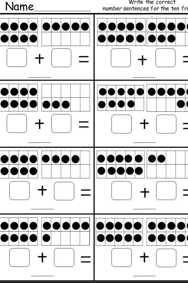 Kindergarten Ten Frame Worksheets Free Ten Frame Addition Printable Kindermomma