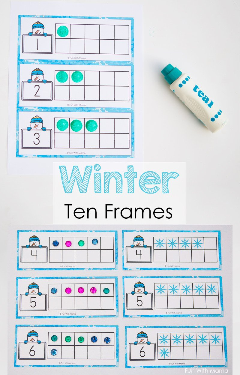 Kindergarten Ten Frame Worksheets Snowman Winter Ten Frame Printable Fun with Mama