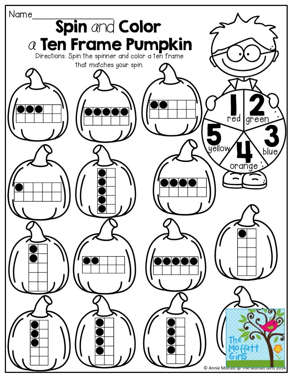 Kindergarten Ten Frame Worksheets Spin and Color A Ten Frame Use A Paperclip Spinner to Spin