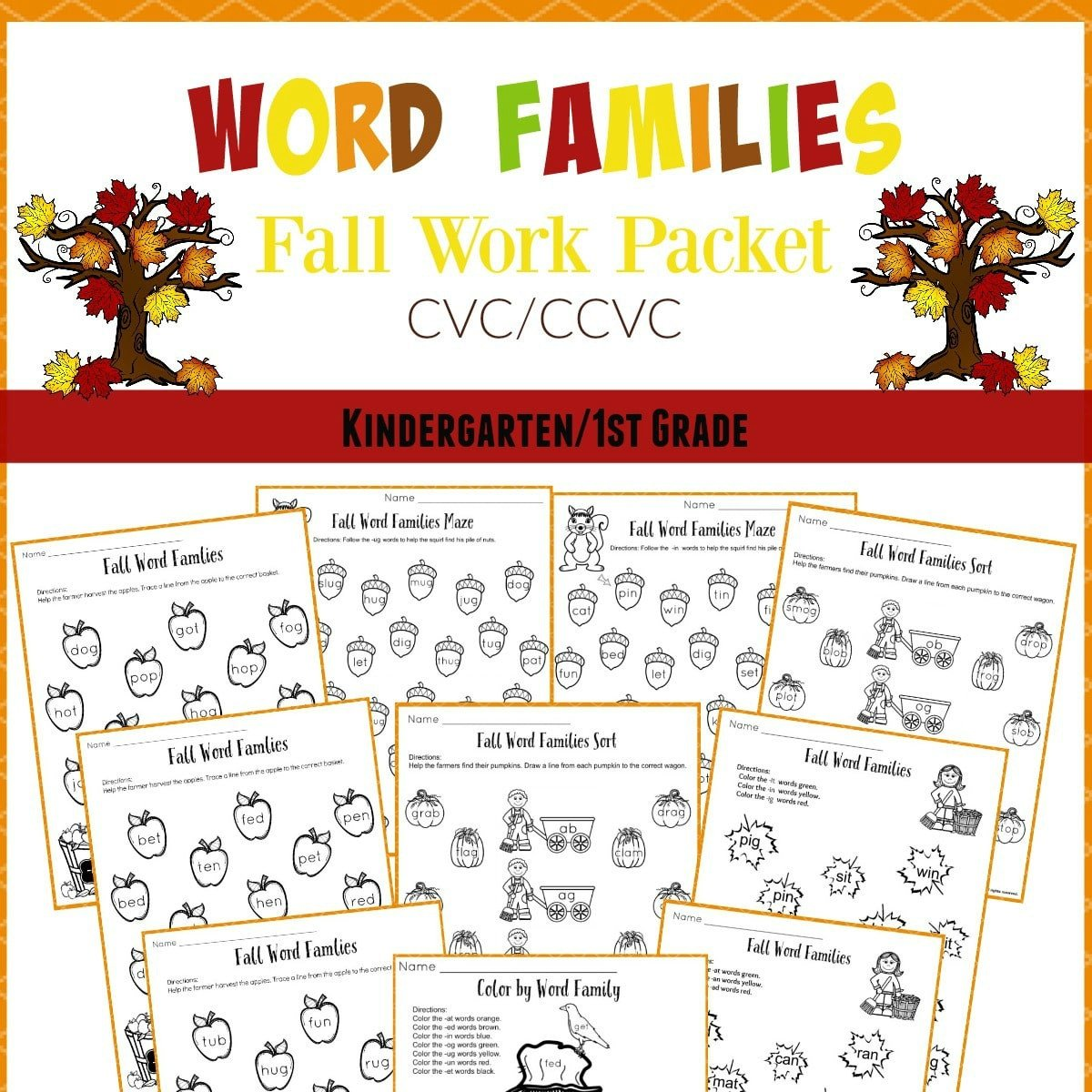 Fall Word Families Cover