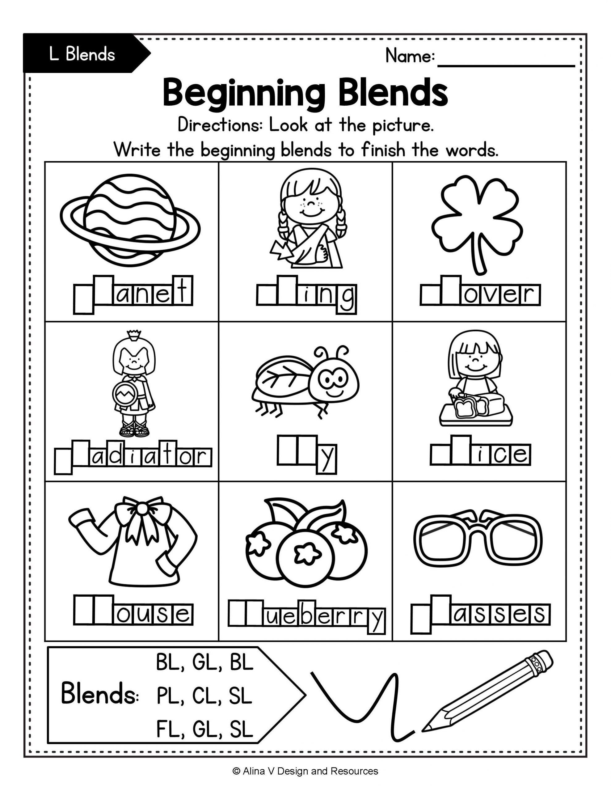 L Blends Worksheets for Kindergarten Beginning Blends Worksheets Bundle Consonant Blends In