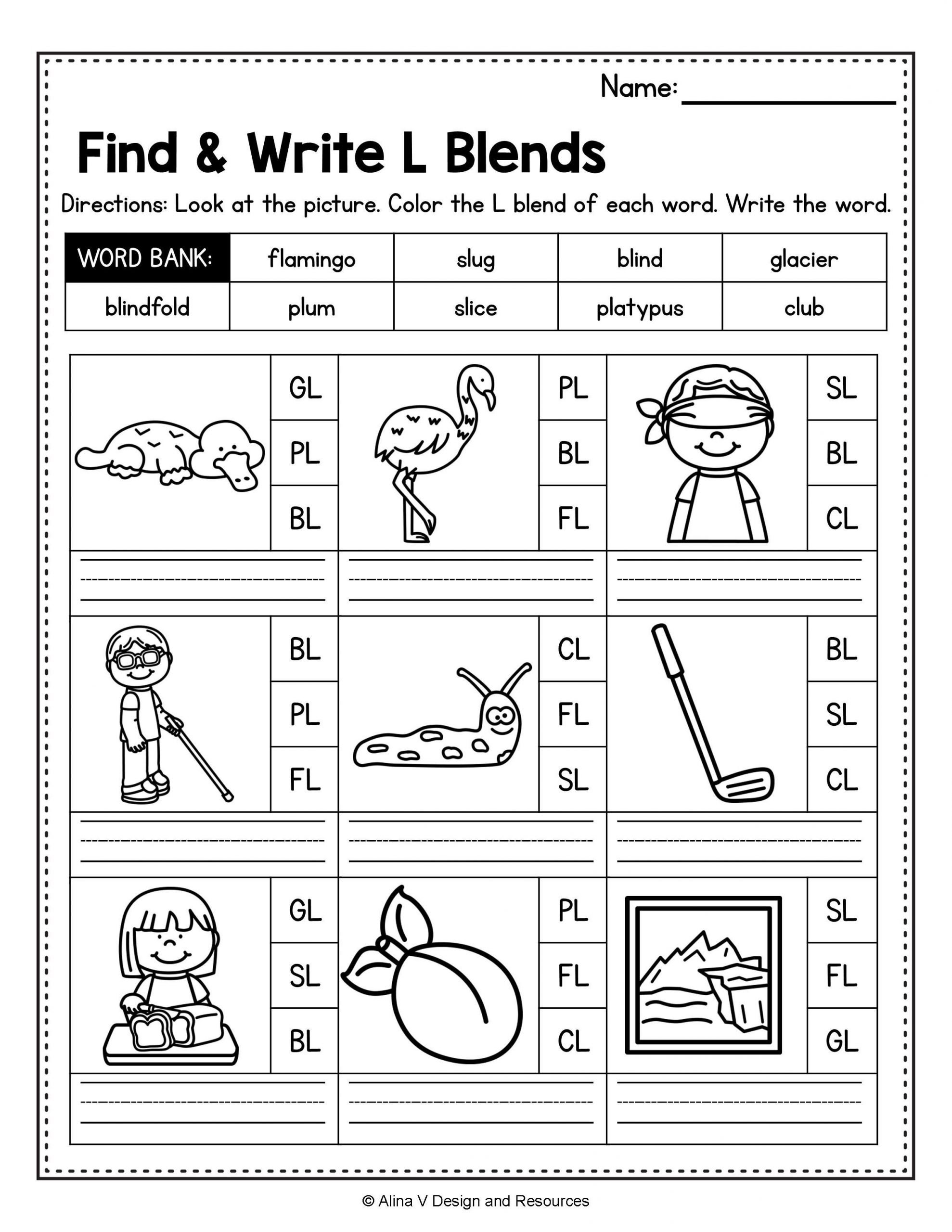 L Blends Worksheets for Kindergarten Blends Worksheets Bundle Consonant Blends R Blends L