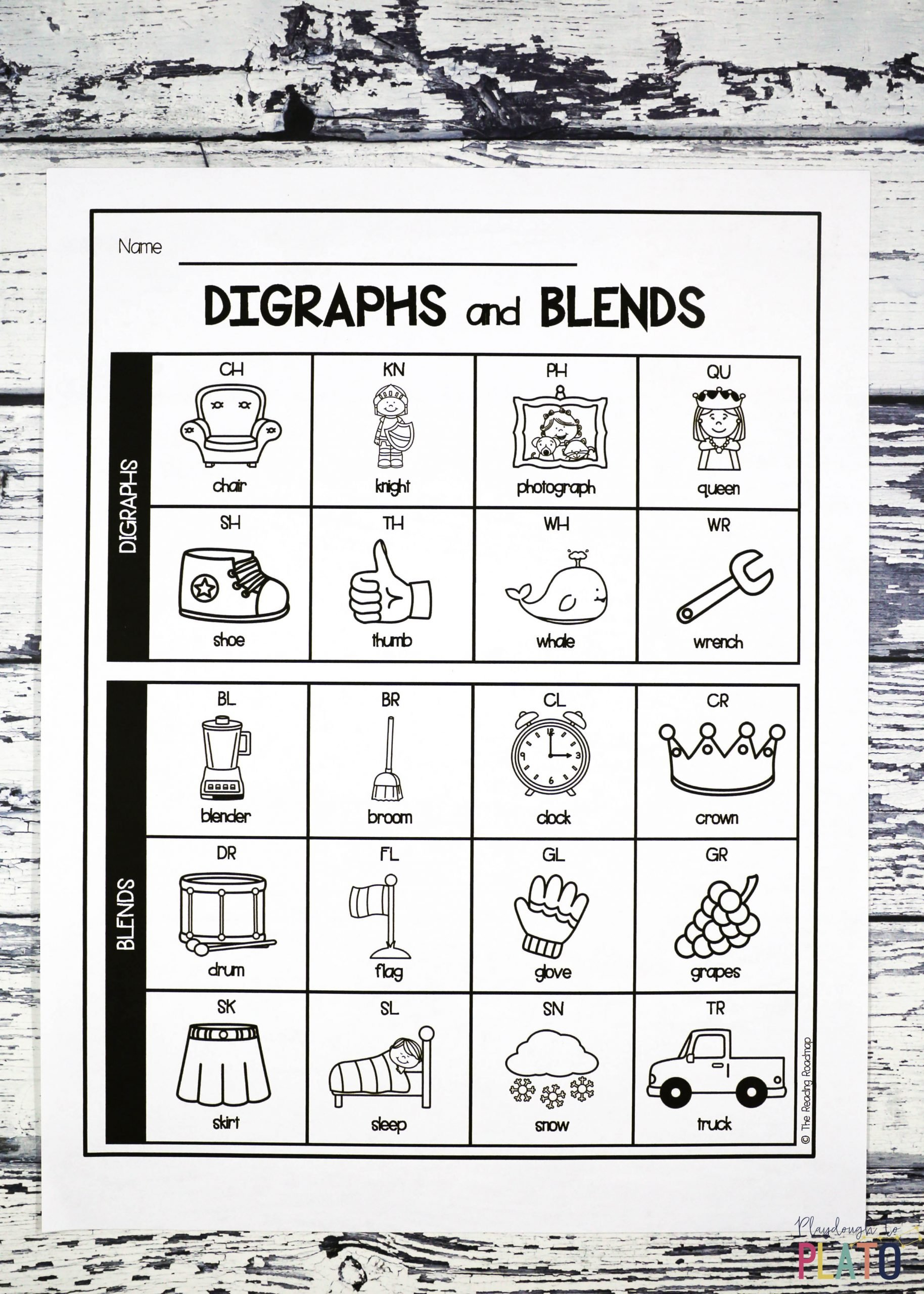 L Blends Worksheets for Kindergarten Digraph and Blend Chart Playdough to Plato