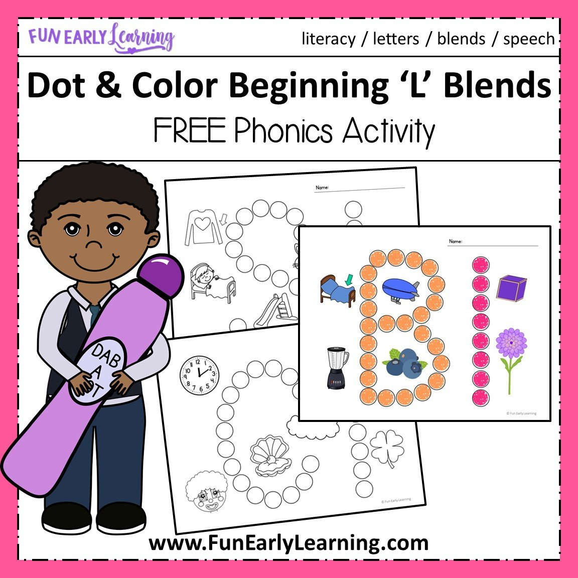 L Blends Worksheets for Kindergarten Dot and Color Beginning L Blends Beginning Phonics Free