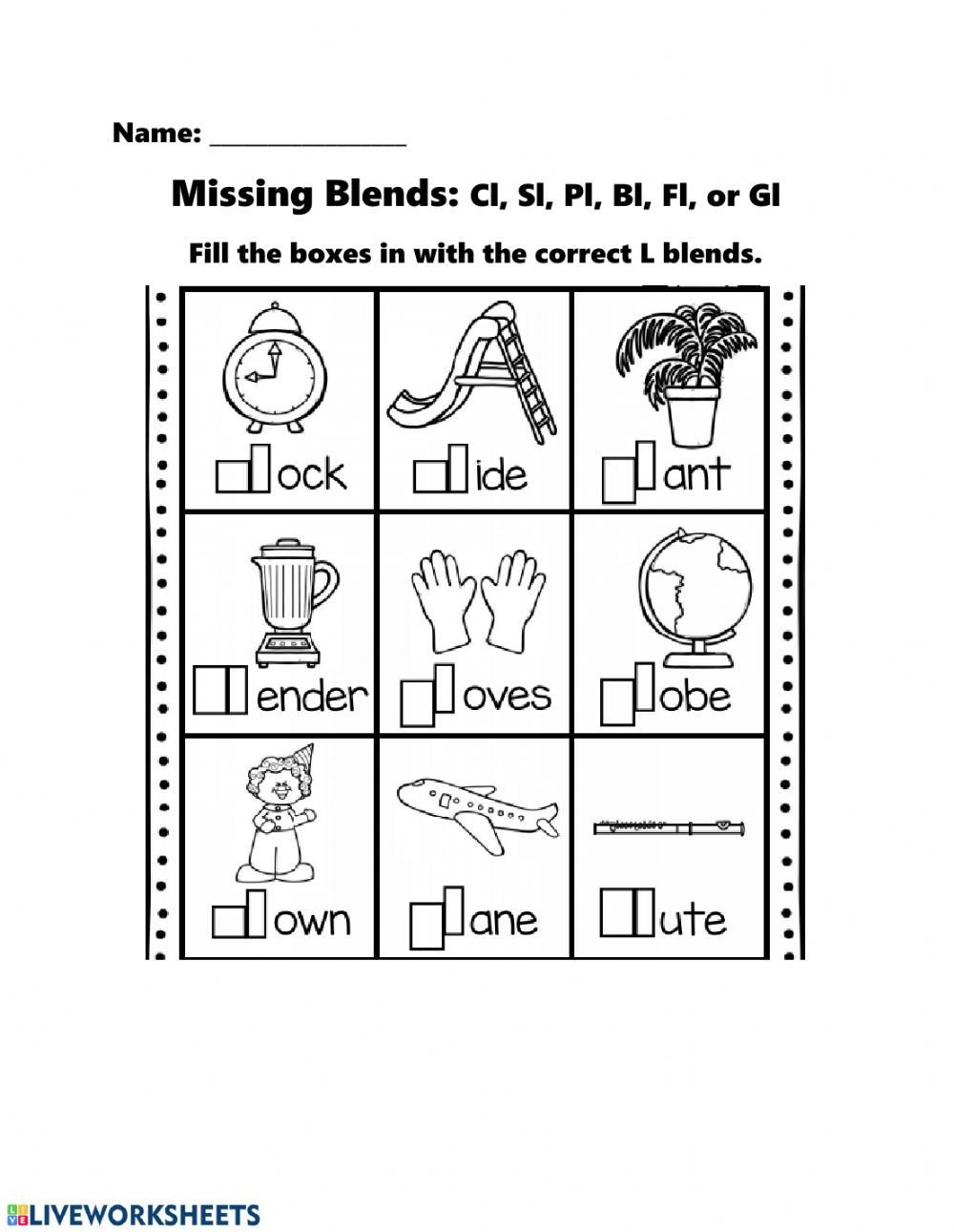 L Blends Worksheets for Kindergarten Missing L Blends Interactive Worksheet