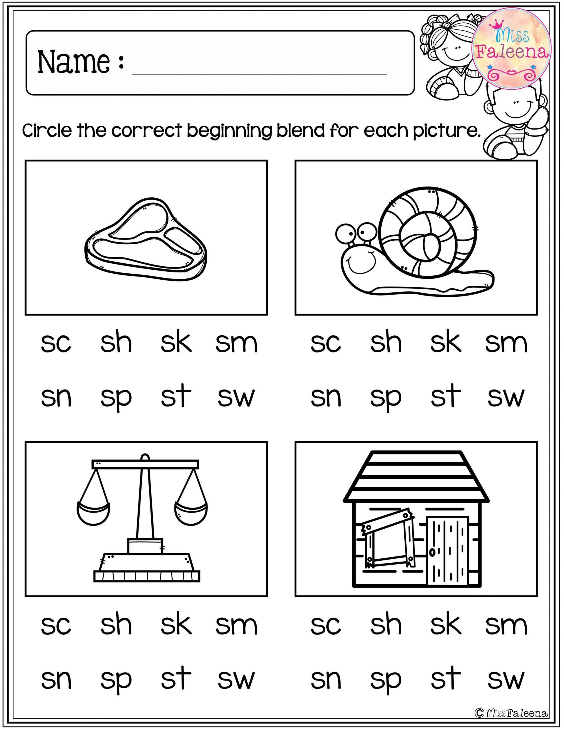 L Blends Worksheets for Kindergarten Sh Worksheets Kindergarten