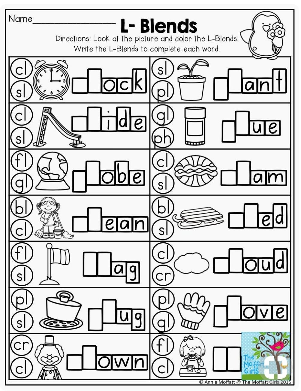 L Blends Worksheets for Kindergarten Special sounds