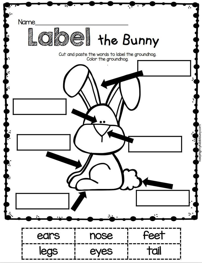 Labeling Worksheet for Kindergarten Easter Bunny English Kindergarten Worksheet In 2020