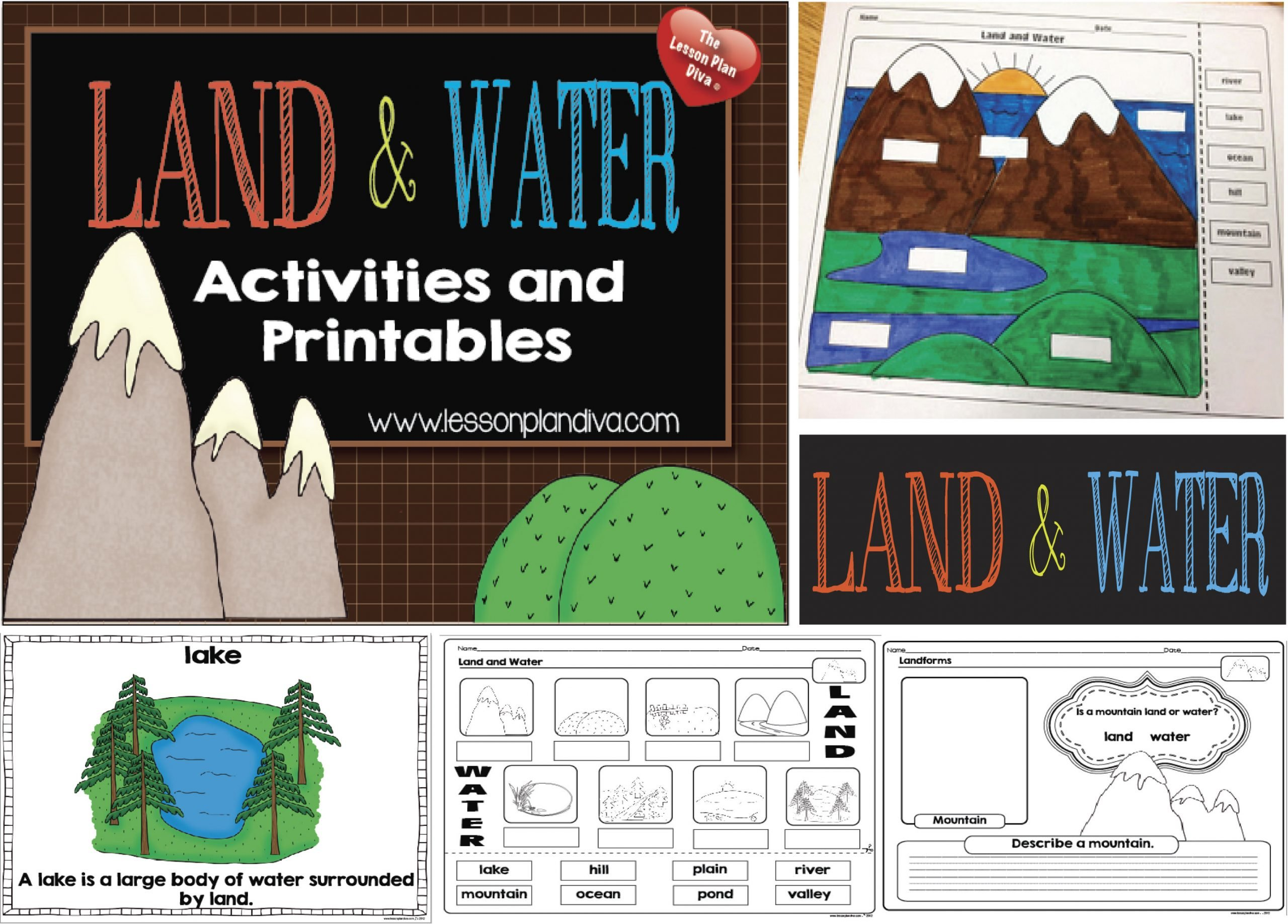 Landforms Worksheet for Kindergarten Landforms and Bo S Of Water Freebie the Lesson Plan Diva