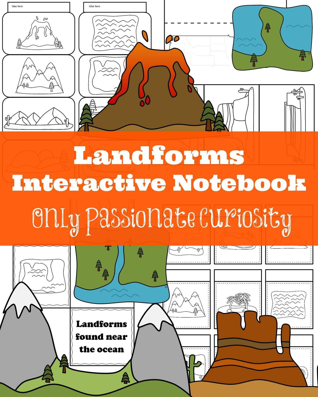 Landforms Worksheet for Kindergarten Landforms Interactive Notebook Pack Ly Passionate Curiosity
