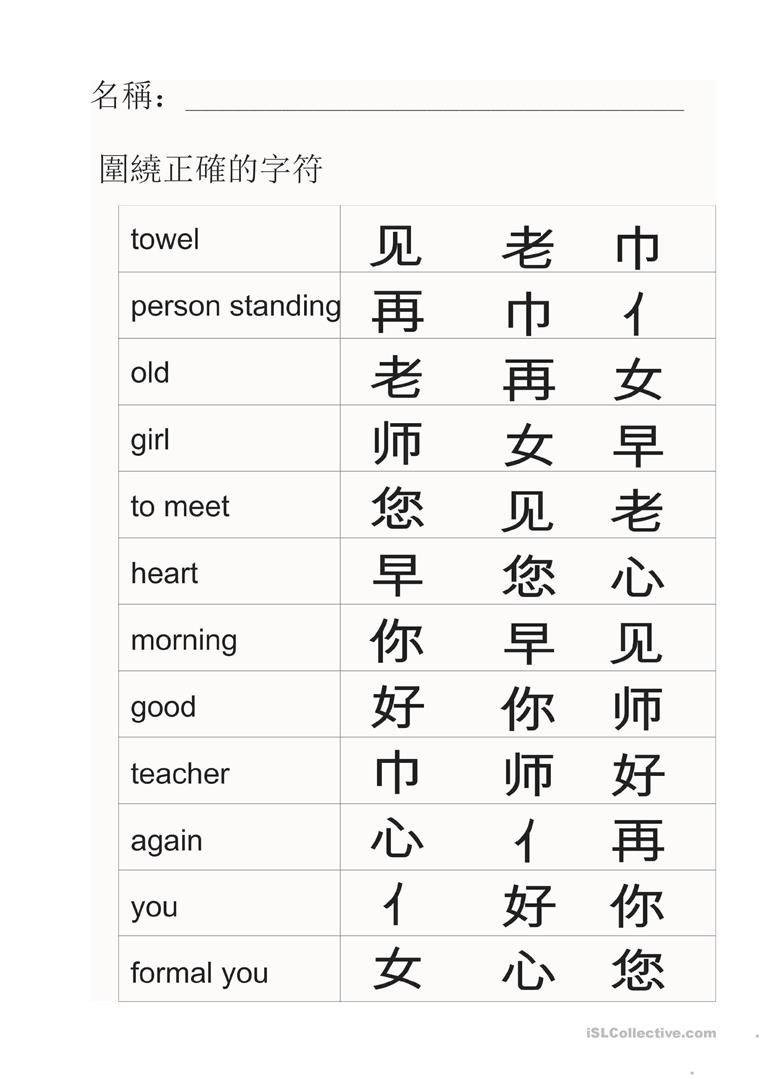 Learning Chinese Worksheets Chinese Radicals English Esl Worksheets for Distance