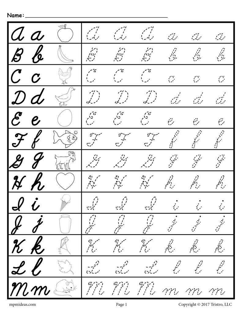 Letter and Number Tracing Worksheets Cursive Uppercase and Lowercase Letter Tracing Worksheets