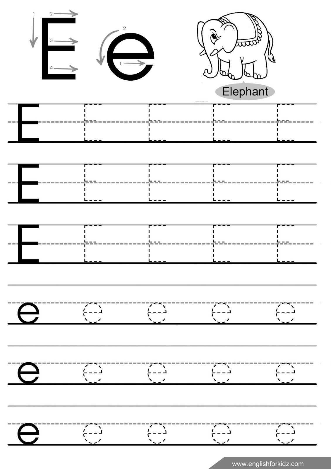 Letter and Number Tracing Worksheets Letter E Tracing Worksheets