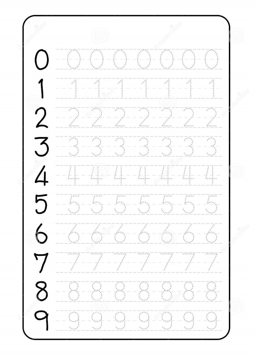 Letter and Number Tracing Worksheets Number Trace Worksheets Preschool Tracing for Magic Math