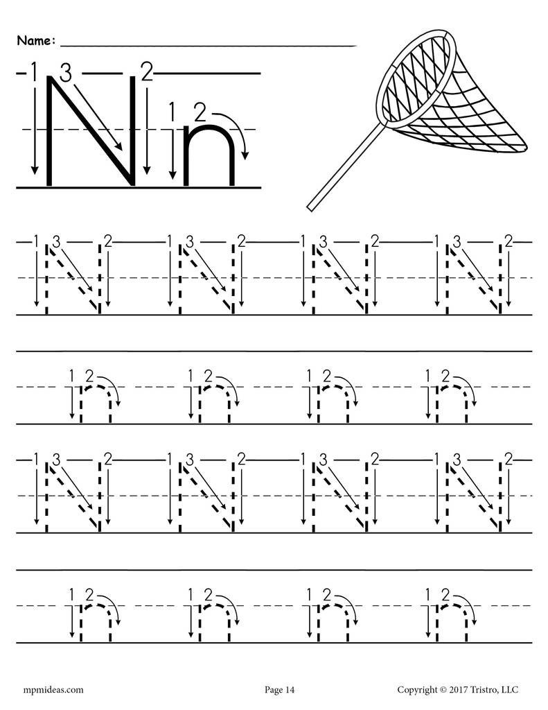 Letter and Number Tracing Worksheets Printable Letter N Tracing Worksheet with Number and Arrow Guides