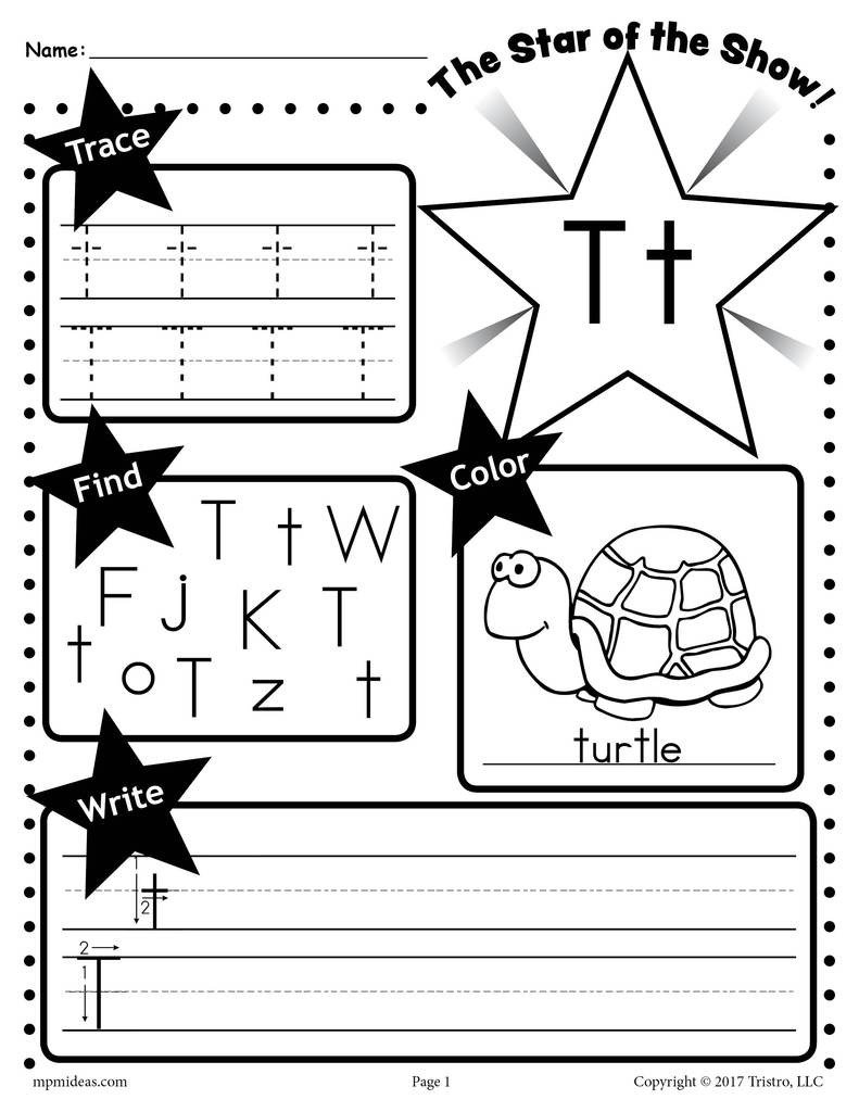Letter H Worksheets Free Letter T Worksheet Tracing Coloring Writing & More