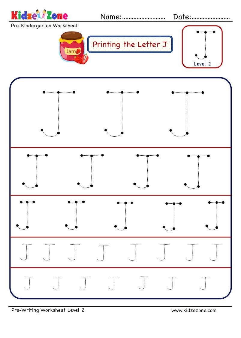 Pre Writing Letter J Tracing worksheet Different Sizes
