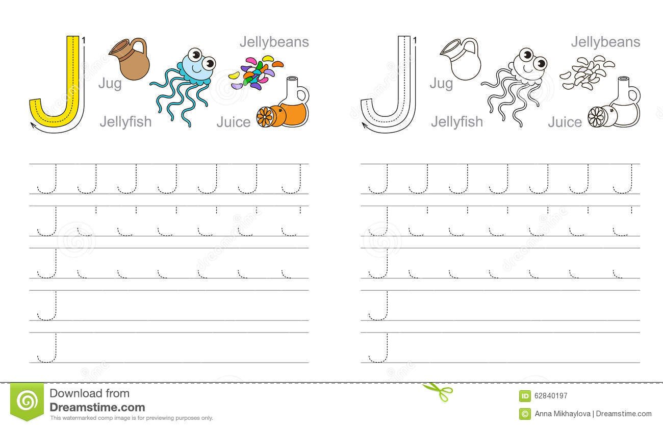 tracing worksheet letter j vector exercise illustrated alphabet learn handwriting page to be colored